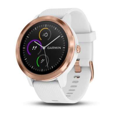 Garmin vivoactive 3 GPS Smartwatch with Contactless Payments and Wrist-based Heart Rate - White with Rose Gold Hardware (010-01769-B3) (Support EU languages)