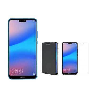 Huawei P20 lite 4GB/64GB Dual Sim with 0.3mm Tempered Glass Screen Protector &  Folding Case (Black) - Blue