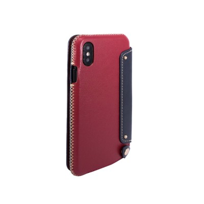 OBX Leather Folio Case with Card Slot for iPhone X 77-58620 - Raisin/Navy
