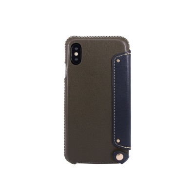 OBX Leather Folio Case with Card Slot for iPhone X 77-58619 - Dark Green/Navy