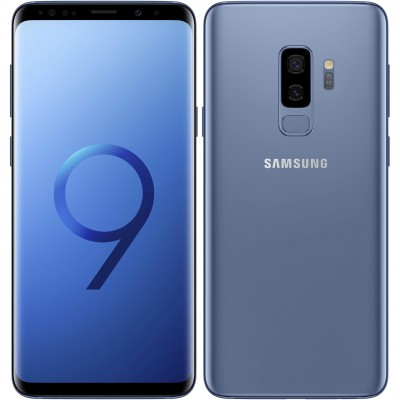 Samsung Galaxy S9 Plus G965FD Dual Sim 4G 64GB with 3D Curved Premium Tempered Glass Screen Protector (Full Adhesive & Black Edge)  - Coral Blue