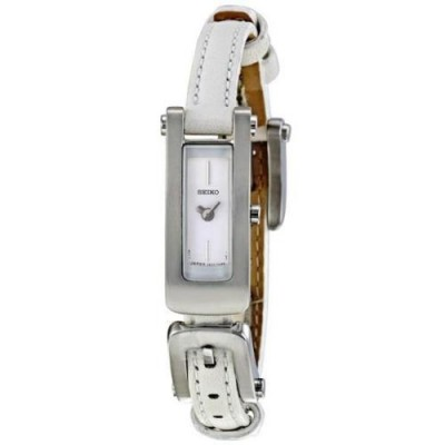 Seiko White Dial White Leather Quartz Ladies Watch SXH049P1